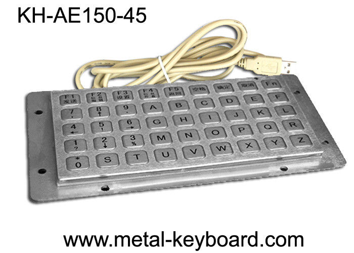 45 Keys Liquid proof / Vandalproof industrial keyboards in metal , USB interface