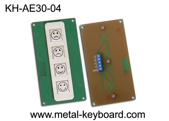 4 Keys Metal Kiosk Keyboard , stainless steel keypad for Service Evaluation Device
