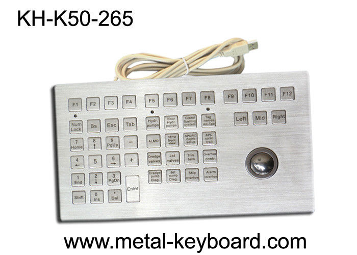 Waterproof IP65 Rate Industrial Keyboard With Trackball Rugged Metal Trackball