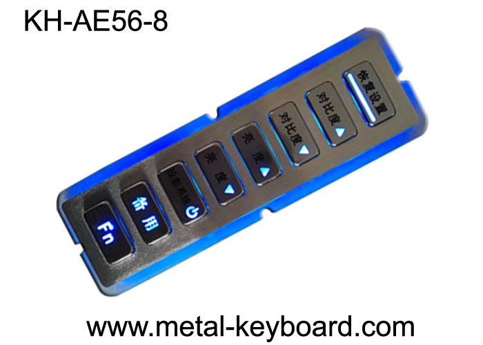 8 Keys Vandal Resistant Backlit Rugged Keypad In Customization Design