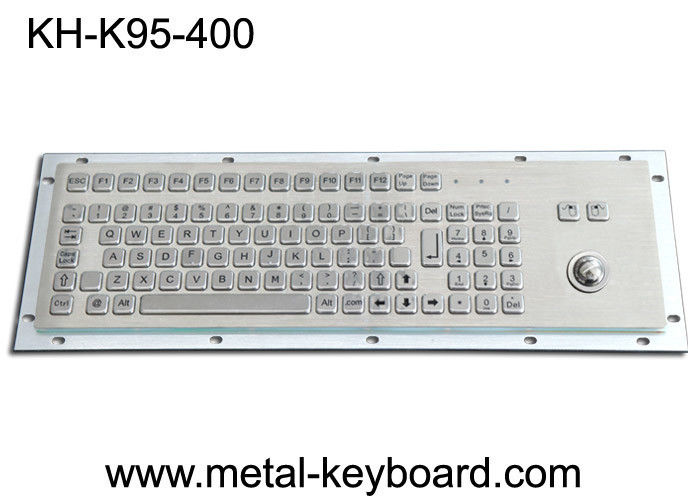 Panel Mount Metal Industrial Keyboard With Trackball 95 Keys Standard PC Layout